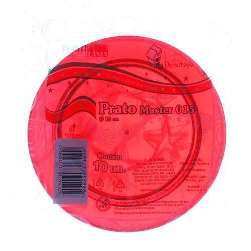 Prato de Acrílico Pic Vermelho Ø 15cm com 10 Unidades Plastilânia