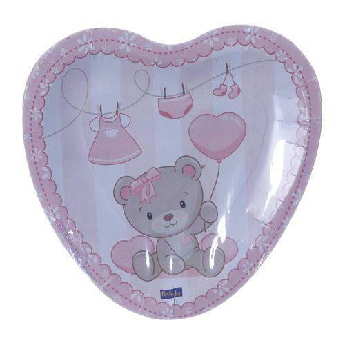 Prato de Papelão Descartável Coração Baby Ursinho Rosa Pacote com 8 Unidades Festcolor