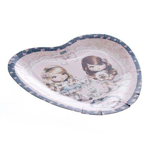 Prato de Papelão Descartável Coração Jolie Pacote com 8 Unidades Festcolor