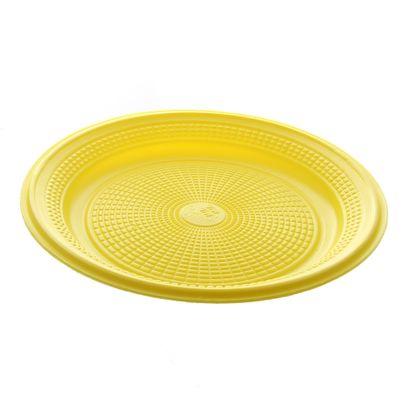 Prato de Plástico Descartáve Amarelo Ø 15cm Amarelo com 10 Unidades Trik Trik