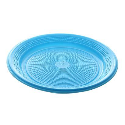 Prato de Plástico Descartável Azul Claro Ø 15cm com 10 Unidades Trik Trik