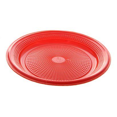 Prato de Plástico Descartável Vermelho Ø 15cm com 10 Unidades Trik Trik