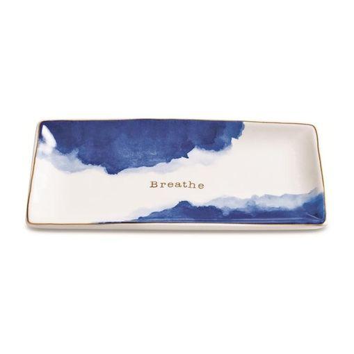 Prato Decorativo de Cerâmica Azul Breathe Mart