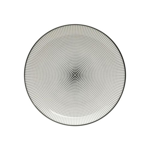Prato Decorativo Dot Angles 18,4 Cm Preto e Branco