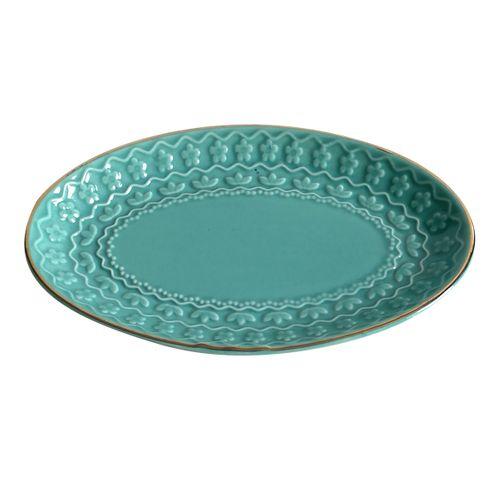 Prato Decorativo Oval Azul Dish 15cm