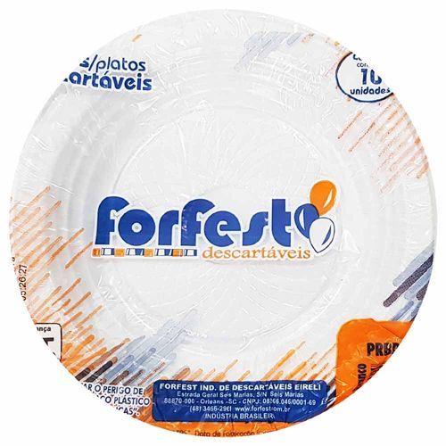 Prato Descartável 15cm Branco Forfest 10 Unidades 1021603