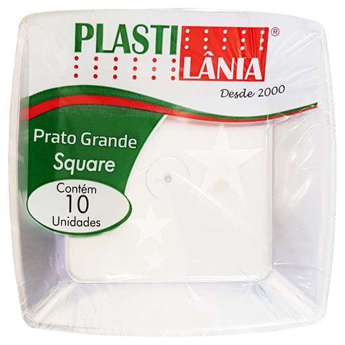 Prato Descartável 21cm Square Cristal Plastilânia 10 Unidades 1005341