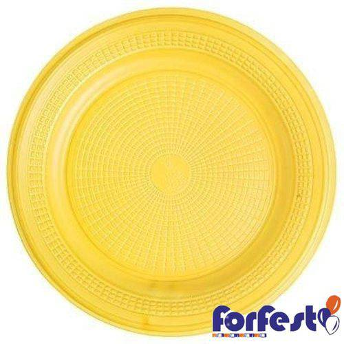 Prato Descartável Colorido 15cm Amarelo Forfest - 10 Unidades