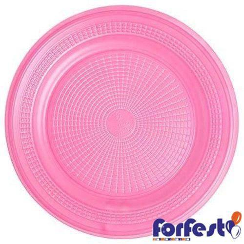 Prato Descartável Colorido 15cm Forfest Rosa - 10 Unidades