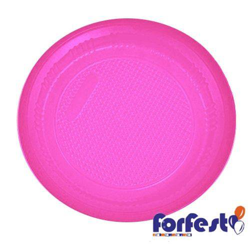 Prato Descartável Colorido 15cm Pink Forfest - 10 Unidades