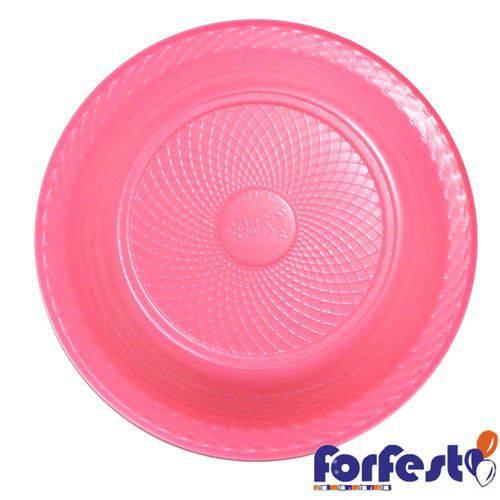 Prato Descartável Colorido 15cm Rosa Neon Forfest - 10 Unidades