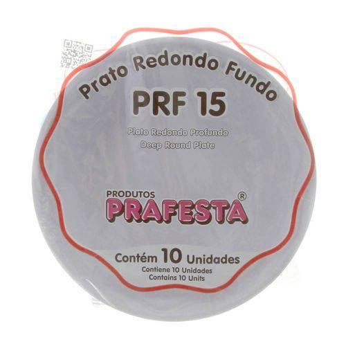 Prato Descartável Fundo Branco 15cm C/10 - Prafesta