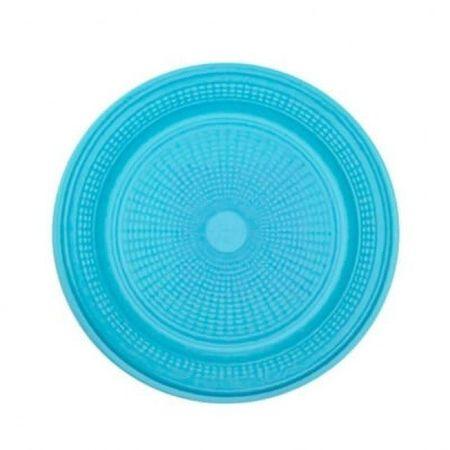 Prato Descartável Raso 15cm Azul Claro - 10 Unidades