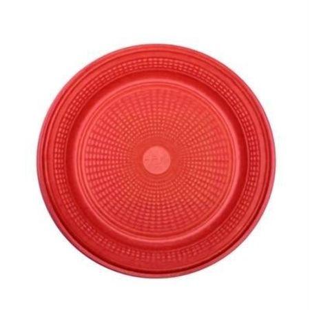 Prato Descartável Raso 15cm Vermelho - 10 Unidades
