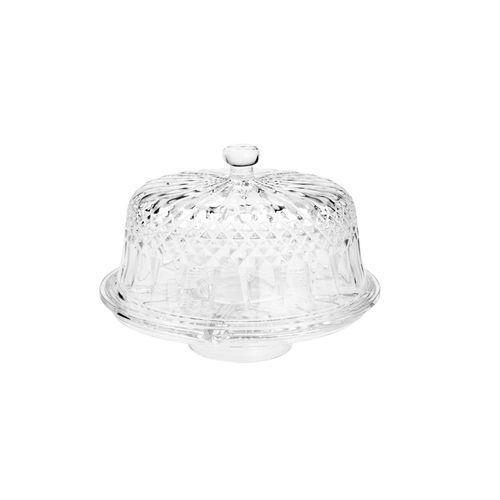 Prato para Bolo em Cristal Lyor Diamante 30x22cm
