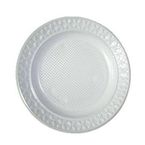 Prato Plástico Branco 18cm Copaza - 10 Unidades