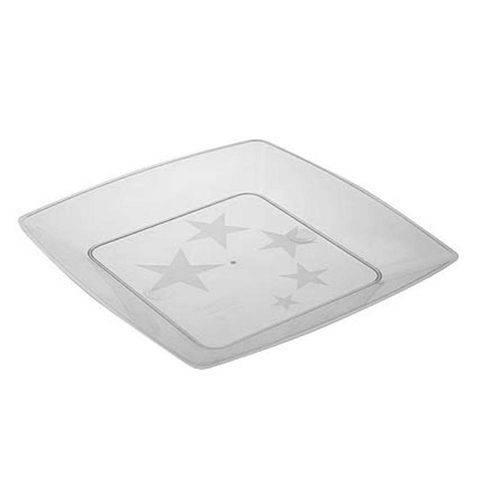 Prato Plástico Reforçado Quadrado 15cm Plastilania - 10 Unidades