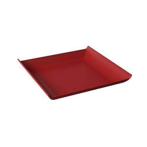 Prato Quadrado Casual 20,6 X 20,6 X 2,6 Cm Vermelho Bold - Coza