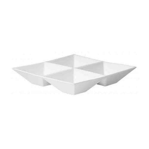 Prato Quadrato para Petiscos 22x22x4cm Branco Asa