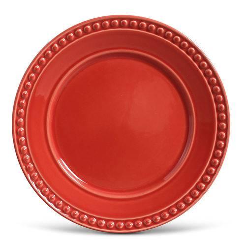 Prato Raso de Cerâmica 26Cm Vermelho - Porto Brasil