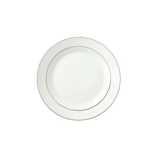 Prato Raso em Porcelana DmBrasil Prata 25cm 4221