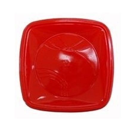 Prato Raso Quadrado 15cm Vermelho Prato Descartável Raso Quadrado 15cm Vermelho - 10 Unidades