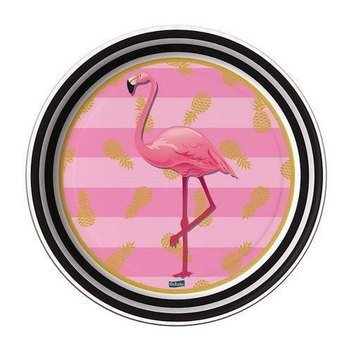 Prato Redondo 18cm Flamingo C/ 08 Unidades