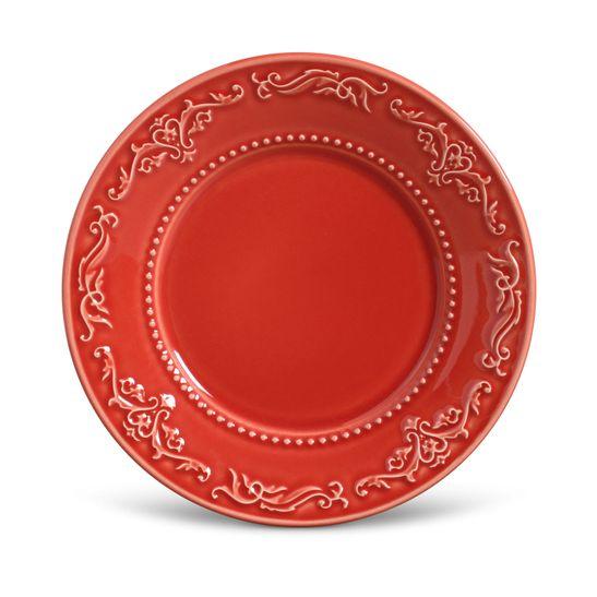 Prato Sobremesa Acanthus Cerâmica 6 Peças Vermelho Porto Brasil