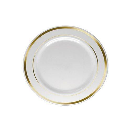 Prato Sobremesa Borda Ouro 15cm C/ 06 Unidades