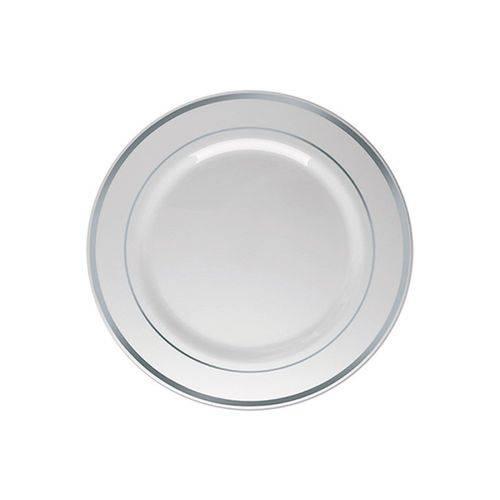 Prato Sobremesa Borda Prata 15cm C/ 06 Unidades