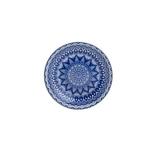 Prato Sobremesa em Cerâmica Azul e Branco Mandala 19cm
