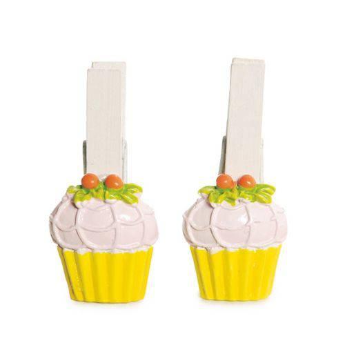 Pregador Cupcake Decoração Festa Páscoa C/ 6 Pçs 6 Unid. Amarelo