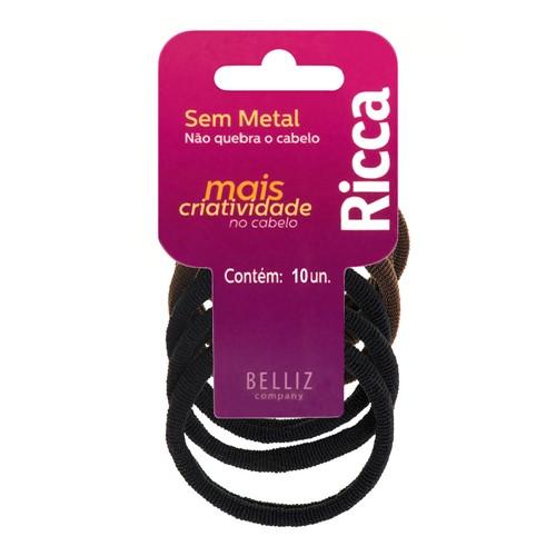 Prendedor de Cabelo Elástico Ricca Cores Sortidas Sem Metal 15mm com 10 Unidades