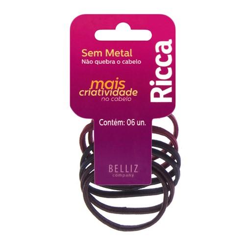 Prendedor de Cabelo Elástico Ricca Cores Sortidas Sem Metal 6mm com 6 Unidades