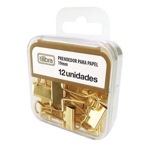 Prendedor Tilibra Binder Clips 19 Mm 012 Un Dourado 178250