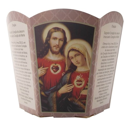 Protetor de Vela - Sagrado Coração de Jesus e Imaculado Coração de Maria   SJO Artigos Religiosos