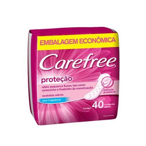 Protetor Diário Carefree Proteção Sem Perfume com 40 Unidades