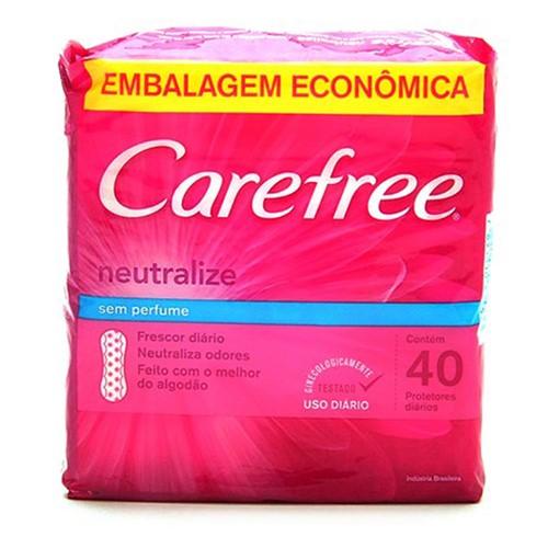 Protetor Diário Carefree Proteção Sem Perfume com 40