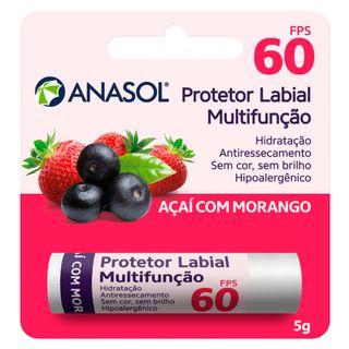 Protetor Hidratante Labial Açaí com Morango FPS60 Anasol 5g