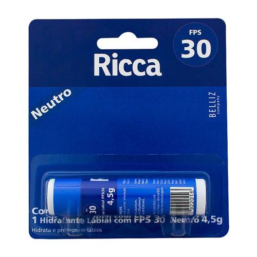 Protetor Labial Ricca FPS 30 Stick Neutro com 4,5g