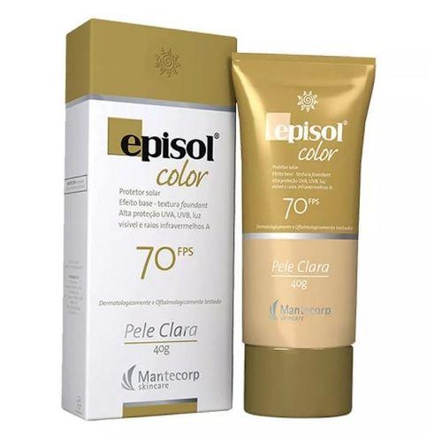Protetor Solar Color Pele Clara FPS 70 Episol Mantecorp Skincare 40g