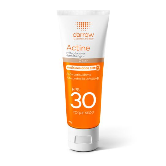 Protetor Solar Facial Actine com Cor 10h de Antioliosidade Fps30 Toque Seco 40g