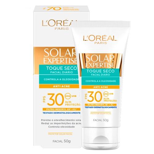 Protetor Solar Facial L'oréal Solar Expertise Toque Seco Antiacne FPS 30 com 50g