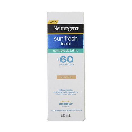 Protetor Solar Facial Neutrogena Sun Fresh Controle de Brilho Fps 60 com Cor 50mL