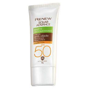Protetor Solar Facial Renew Advance Matte com Cor Anti-Idade FPS50 50g - Média