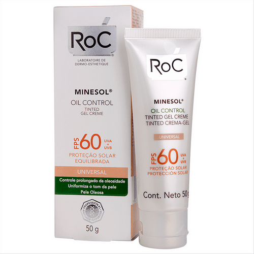 Protetor Solar Facial Roc Minesol Oil Control Tinted FPS 60 50g