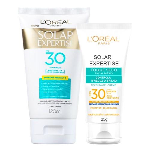 Protetor Solar L'oréal Solar Expertise Supreme Protect FPS 30 Loção 120ml + Grátis Solar Expertise Facial Toque Seco 25g