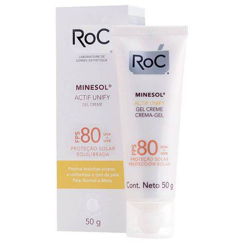 Protetor Solar Roc Minesol Gel Creme Actif Unify FPS 80 50g