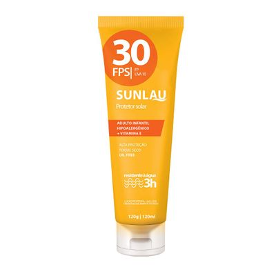 Protetor Solar Sunlau Antienvelhecimento com Hidratante FPS 30 UVA/UVB com Vitamina e de 120 G