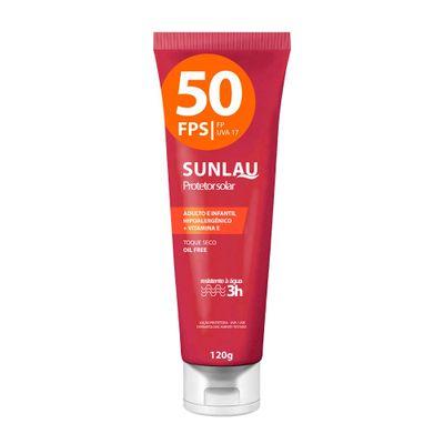 Protetor Solar Sunlau Antienvelhecimento com Hidratante FPS 50 UVA/UVB com Vitamina e de 120 G